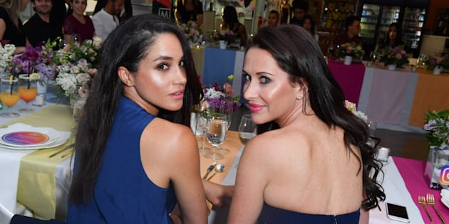 Meghan Markle and Jessica Mulroney attend dinner at the MARS Discovery District on May 31, 2016 in Toronto.