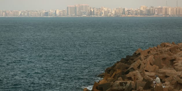 At least 29 people died after a migrant boat capsized off the coast of Egypt. Pictured here, the Egyptian coastline of the Mediterranean Sea.