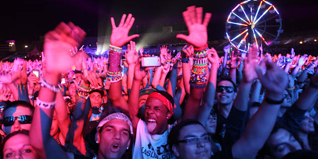 The crowd dances to the sounds of French electronic music DJ Martin Solveig during the Electric Daisy Carnival in Las Vegas June 25, 2011. Picture taken June 25, 2011. REUTERS/ Richard Brian (UNITED STATES - Tags: ENTERTAINMENT)