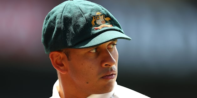 Usman Khawaja wears the baggy green during a Test match in Sydney in January.