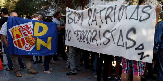 Manifestación de Democracia Nacional ante el juzgado de Plaza Castilla en apoyo a los ultras. Pablo Blazquez Dominguez/Getty Images