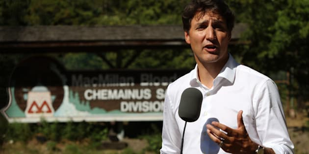 Prime Minister Justin Trudeau speaks to media following a tour of the BC Forest Discover Centre in Duncan, B.C. on Aug. 4, 2018.
