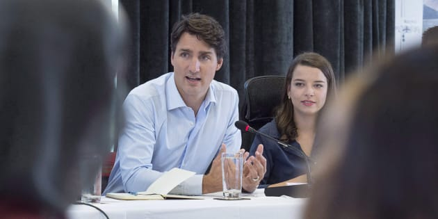 Prime Minister Justin Trudeau meets with members of the Prime Minister's Youth Council after the Liberal cabinet meeting in St. John's, N.L. on  Sept. 13, 2017.
