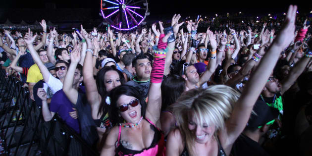 The crowd dances to the sounds of Dutch music producer and DJ Afrojack during the second day of the Electric Daisy Carnival in Las Vegas June 25, 2011. Picture taken June 25, 2011.