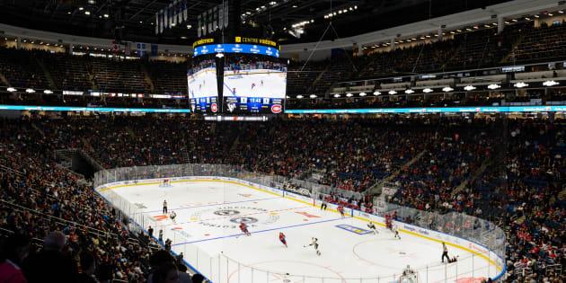 Photo d'archives du Centre Vidéotron lors d'un match préparatoire du Canadien en 2015.