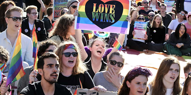 Marriage Equality Rally from the Town Hall to Taylor's Square, Oxford St on August 6, 2017 in Sydney, Australia