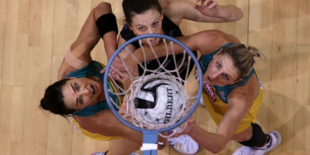Sharni Layton (L) of Australia, Baily Mes of New Zealand and Clare McMeniman of Australia during the Constellation Cup International Test match between the New Zealand Sliver Ferns and the Australia Diamonds on October 20, 2016 in Invercargill, New Zealand.