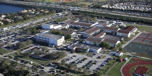 Le lycée Marjory Stoneman Douglas à Parkland en Floride, théâtre d'une fusillade meurtrière le 14 février 2018.