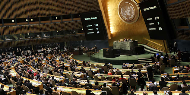 The voting results are displayed on the floor of the United Nations General Assembly in which the United States declaration of Jerusalem as Israel's capital was declared 'null and void' on December 21, 2017 in New York City.