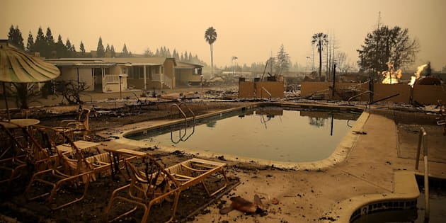 The Journey's End Mobile Home Park in Santa Rosa, California, in the aftermath of the fires.