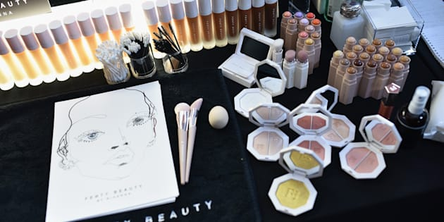 Makeup provided by Fenty Beauty backstage at the FENTY PUMA by Rihanna Spring/Summer 2018 Collection at Park Avenue Armory on Sept. 10, 2017 in New York City.