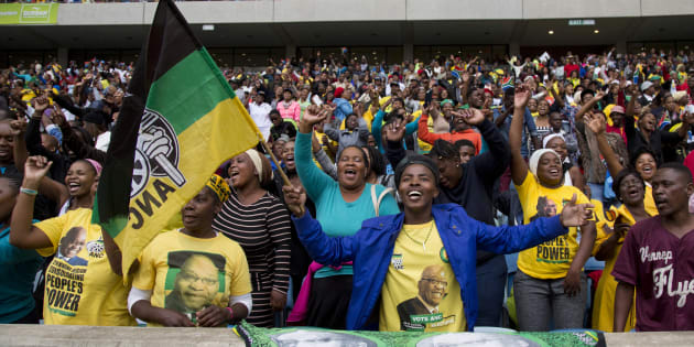 Supporters of the African National Congress (ANC) react during a Human Rights Day rally in Durban, South Africa, March 21, 2016. REUTERS/Rogan Ward