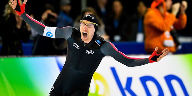 Ted-Jan Bloemen of Canada celebrates after setting a world record in the men's 5,000-meter final during day 3 of the ISU World Cup Speed Skating event on December 10, 2017 in Salt Lake City, Utah.