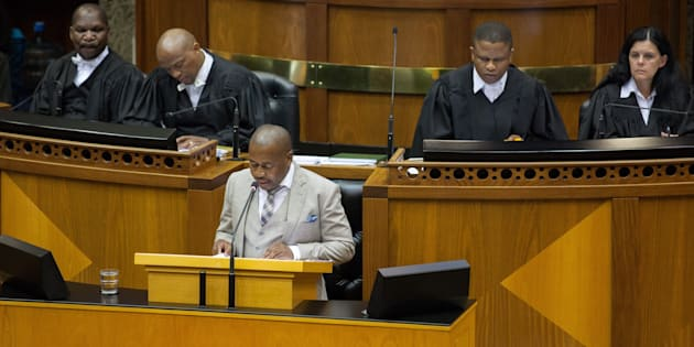 Mzwandile Masina speaks at a debate on the in Parliament in 2015.  Photo by Ashraf Hendricks/Anadolu Agency/Getty Images