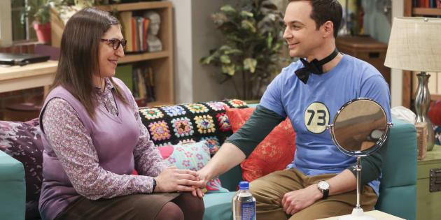 "Amy y Sheldon de ""Big Bang Theory""."