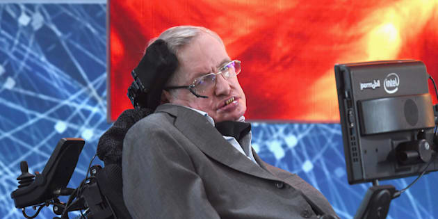 """NEW YORK, NEW YORK - APRIL 12:  Cosmologist Stephen Hawking attends the New Space Exploration Initiative """"Breakthrough Starshot"""" Announcement at One World Observatory on April 12, 2016 in New York City.  (Photo by Gary Gershoff/WireImage)"""