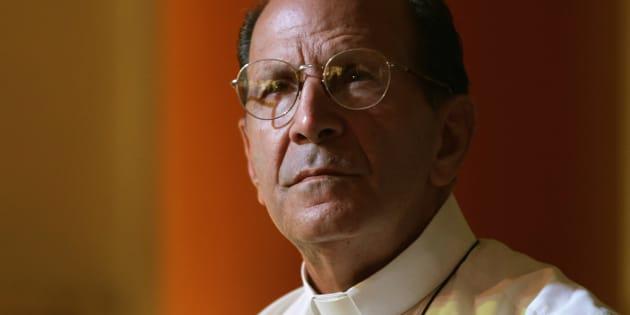 El sacerdote católico y activista de derechos humanos Alejandro Solalinde asiste a una conferencia de prensa en la Ciudad de México.