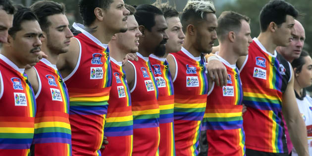 St Kilda City players before the Pride Round match on August 12.