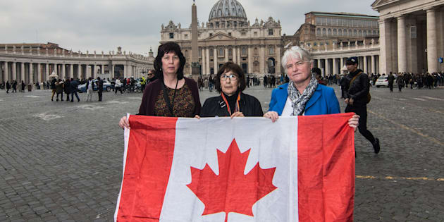 From left to right: Leona Huggins, Evelyn Korkmaz and Bernadette Howell travelled to the Vatican as part of the Ending Clergy Abuse group to advocate for sex abuse victims at a historic summit Feb. 18, 2019.