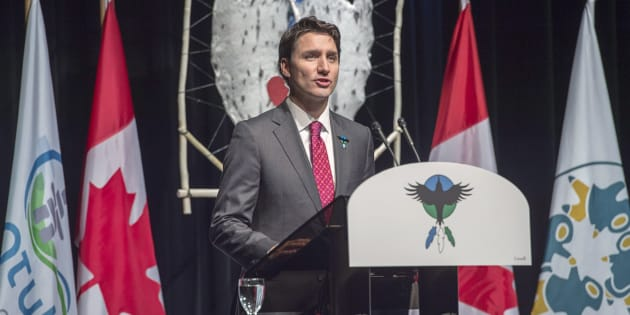 Prime Minister Justin Trudeau delivers an apology on behalf of the government of Canada to former students of the Newfoundland and Labrador Residential Schools in Happy Valley-Goose Bay, N.L. on Nov. 24, 2017.