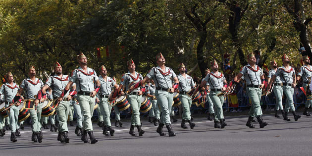 Un grupo de legionarios, en el desfile del 12 de octubre en Madrid.