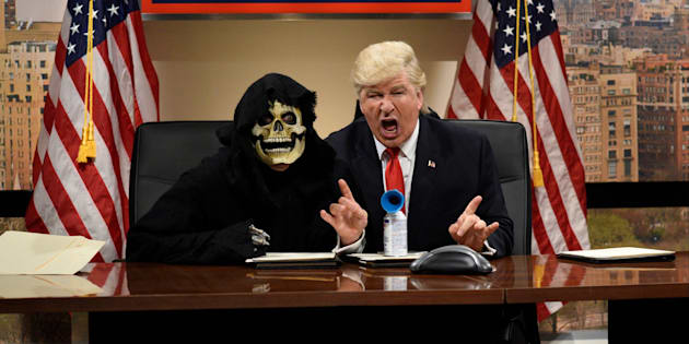 SATURDAY NIGHT LIVE -- 'Emma Stone' Episode 1712 -- Pictured: Alec Baldwin as Donald Trump during the 'Classroom Cold Open' sketch on December 3, 2016 -- (Photo by: Will Heath/NBC/NBCU Photo Bank via Getty Images)