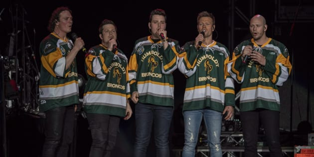 The Hunter Brothers perform the national anthem during the Country Thunder Humboldt Broncos tribute concert in Saskatoon on Friday.
