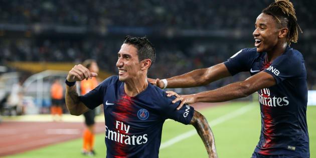 Angel Di Maria célèbre son but lors de la victoire du PSG contre Monaco dans le Trophée des Champions