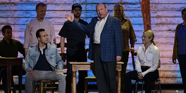 The cast of Come From Away performs at The 71st Annual Tony Awards broadcast live from Radio City Music Hall in New York City on Sun. June 11, 2017.