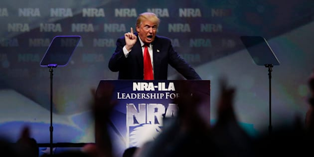 Republican presidential candidate Donald Trump speaks at the NRA Leadership Forum on Friday, May 20, 2016, in Louisville, Ky. (Mark Cornelison/Lexington Herald-Leader/TNS via Getty Images)