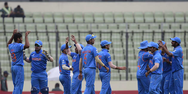 A file photo of India's under-19 team during the World Cup cricket final between India and West Indies.