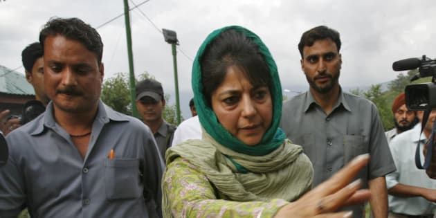 Mehbooba Mufti (C), chief of People's Democratic Party (PDP).