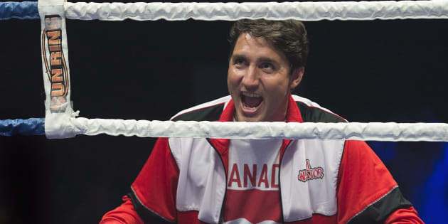 Prime Minister Justin Trudeau looks on during a charity boxing event in Montreal on Aug. 23, 2017.