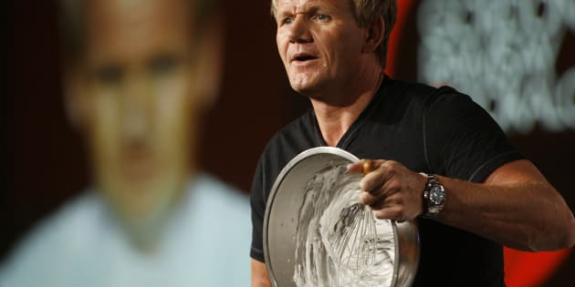 """Chef Gordon Ramsay, star of the new program """"Gordon Ramsay: Cookalong Live"""", whips egg whites as he makes Baked Alaska at the Fox Summer Television Critics Association press tour in Pasadena, California August 6, 2009. REUTERS/Fred Prouser  (UNITED STATES ENTERTAINMENT FOOD SOCIETY)"""