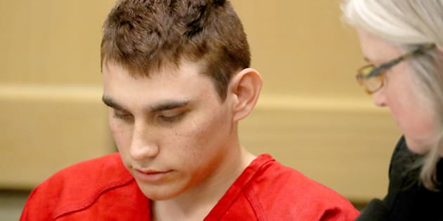 Nikolas Cruz at the first trial hearing for the massacre of 17 people in a high school.