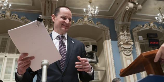 Le ministre des Finances, Éric Girard, lors du dépôt de son premier budget.
