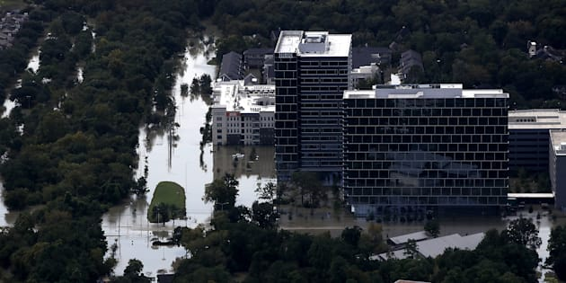 """""""In Houston, Texas, Hurricane Harvey has killed dozens and displaced thousands, shut down oil refineries and caused explosions at chemical plants. Some say it's one of the costliest """"natural"""" disasters in U.S. history."""""""