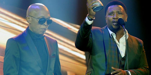 Musa Sukwene and Robbie Malinga (left) during the 16th annual Metro FM Music Awards held at the Inkosi Luthuli Convention Centre (ICC) on February 25, 2017.