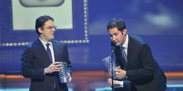 Instagram founders Mike Krieger (L) and Kevin Systrom accept their Webby Breakout Of The Year awards during the 16th annual Webby Awards in New York in this May 21, 2012 file photo.