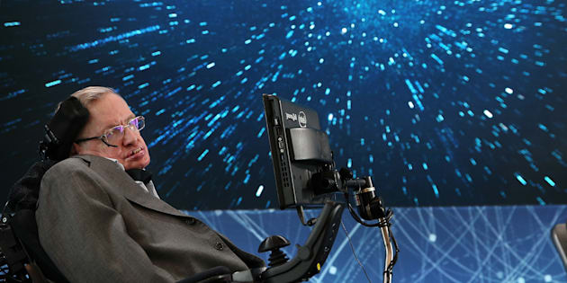 NEW YORK, NEW YORK - APRIL 12:  Professor Stephen Hawking onstage during the New Space Exploration Initiative 'Breakthrough Starshot' Announcement at One World Observatory on April 12, 2016 in New York City.  (Photo by Jemal Countess/Getty Images)