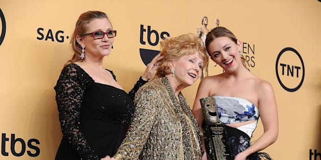 Carrie Fisher, Debbie Reynolds and Billie Catherine Lourd at the Screen Actors Guild Awards in California on Jan. 25, 2015.