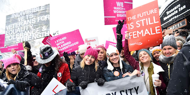 PARK CITY, UT - JANUARY 21:  Jennifer Beals, Chelsea Handler, Mary McCormack and Charlize Theron participates in the Women's March on Main Street Park City on January 21, 2017 in Park City, Utah.  (Photo by Michael Loccisano/Getty Images)