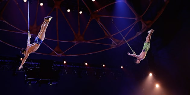 "Yann Arnaud and Gael Ouisse perform at the Cirque Du Soleil's ""Totem"" dress rehearsal on March 13, 2013 in New York City."