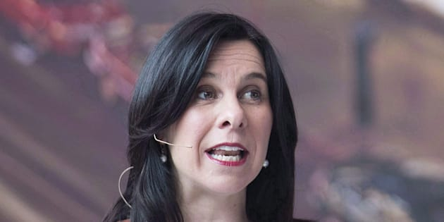 Montreal Mayor Valerie Plante speaks during a news conference in Montreal on April 26, 2018.