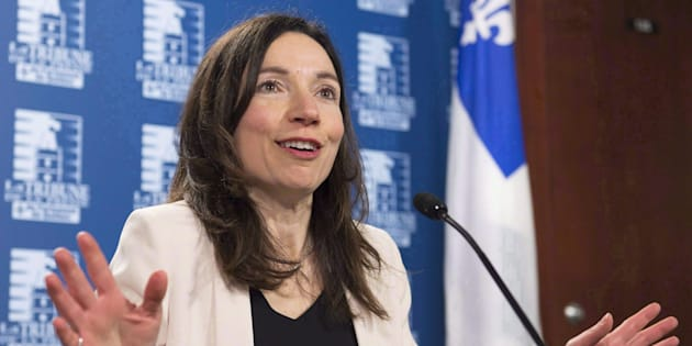 Bloc Quebecois Leader Martine Ouellet speaks at a news conference in Quebec City on March 14, 2017.