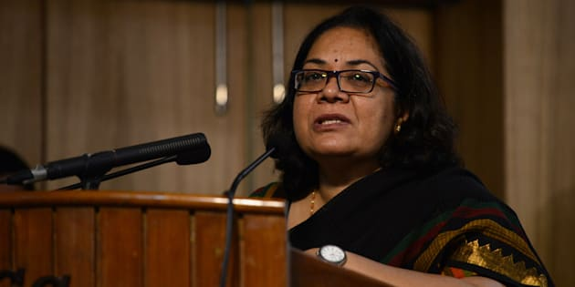 Lalitha Kumaramangalam, chairperson of India's National Commission for Women, speaks at a conference at Jamia Millia Islamia university in New Delhi on April 15, 2015.