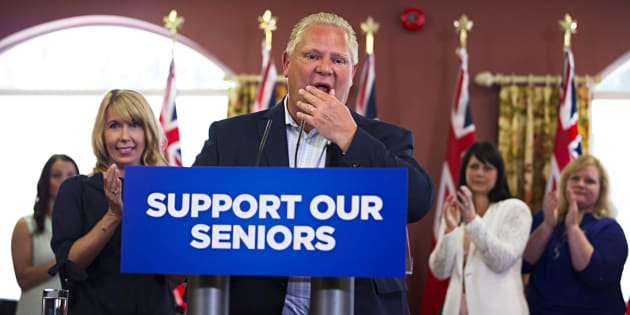 Ontario PC Leader Doug Ford speaks to residents during a campaign stop at Portal Village Retirement Home in Port Colborne, Ont.,  on May 29, 2018.