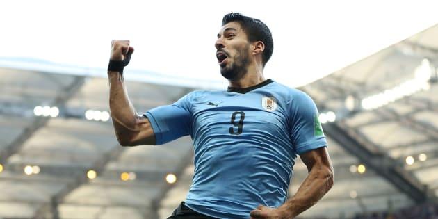 Suárez explodiu a Arena Rostov em festa: atacante marcou e garantiu vaga ao Uruguai.