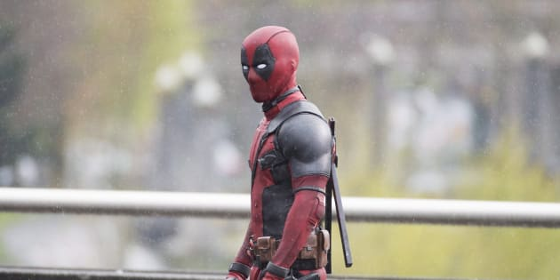 A actor believed to be Ryan Reynolds is dressed as Deadpool on a movie set in Vancouver on April 13, 2015.