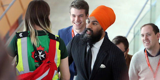 NDP Leader Jagmeet Singh arrives at his party's policy convention in Ottawa on Feb. 16, 2018.